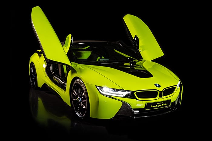 "Alcantara and BMW together for the <span style=""text-transform: lowercase;"">i8</span> Roadster LimeLight Edition"